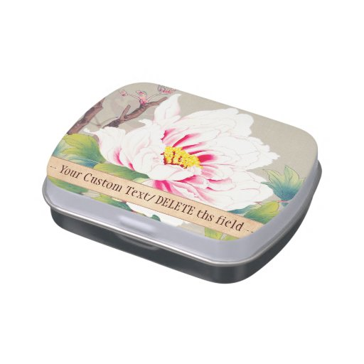 Cool beautiful chinese lotus flower green leaf art candy tins
