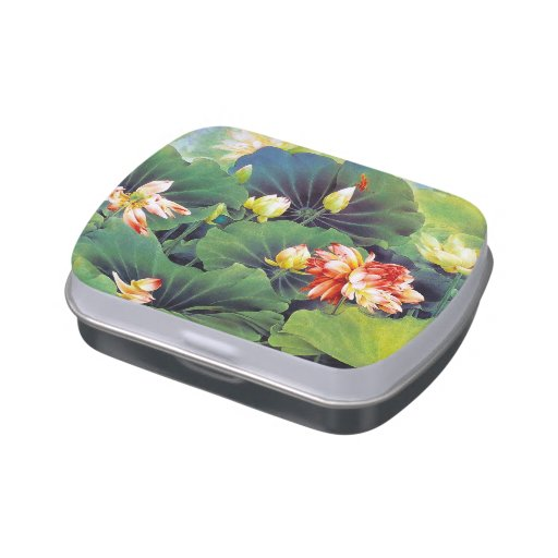 Cool beautiful chinese lotus flower green leaf art jelly belly tin