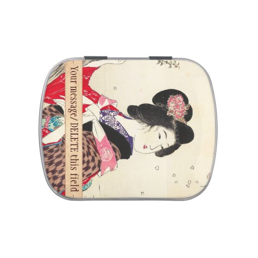 Cool beautiful chinese lotus flower green leaf art candy tin