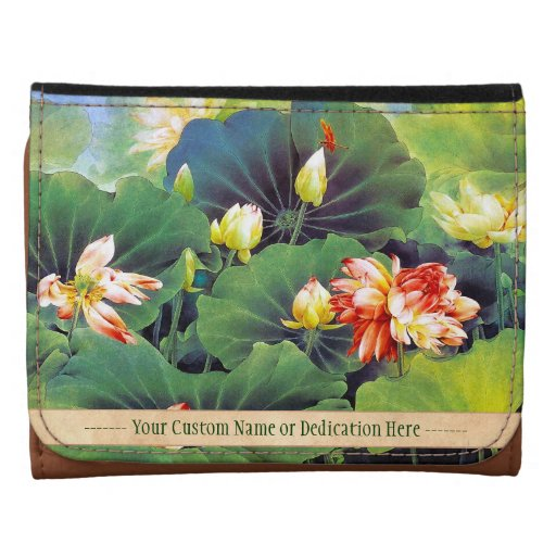 Cool beautiful chinese lotus flower green leaf art leather wallet