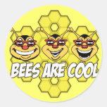 Cool Bees Round Sticker