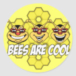 Cool Bees Round Stickers