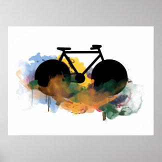 cool bicycle grafitti art style poster