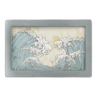 Cool big blue ocean waves image rectangular belt buckle