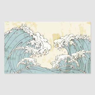 Cool big blue ocean waves image rectangular sticker