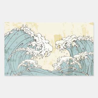 Cool big blue ocean waves image rectangular sticker