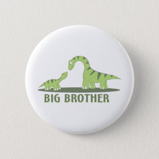 Cool Big Brother Shirt - Dinosaur Theme 6 Cm Round Badge