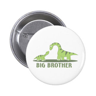 Cool Big Brother Shirt - Dinosaur Theme 6 Cm Round Badge