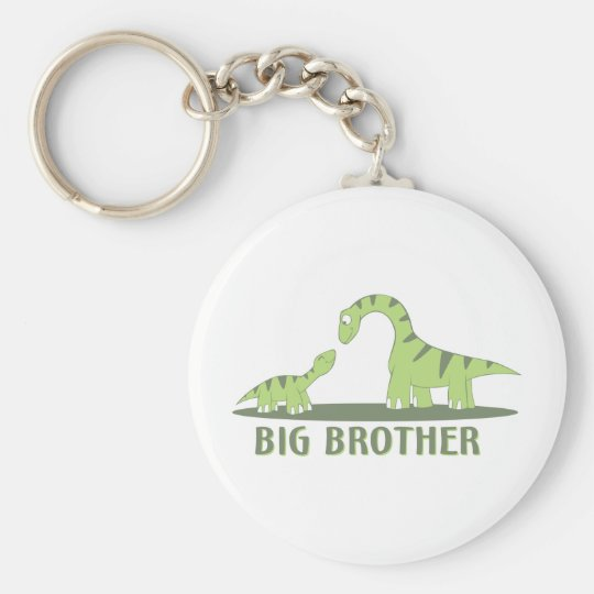 Cool Big Brother Shirt - Dinosaur Theme Basic Round Button Key Ring