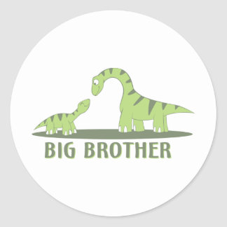 Cool Big Brother Shirt - Dinosaur Theme Round Sticker