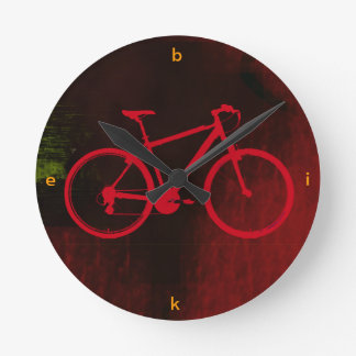 cool bike art round clock