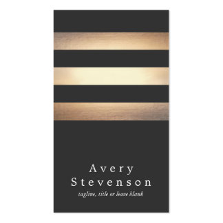 Cool Black and Gold Striped Modern *Faux Foil Business Card Templates