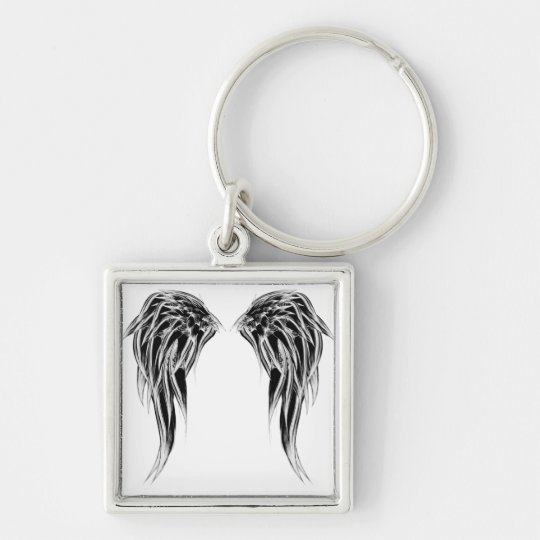 Cool Black and White Angel Wings Key Ring