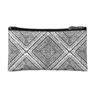 Cool Black and White Aztec Tribal Pattern Makeup Bag