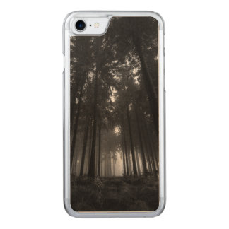 Cool Black and White Forest Fog Silence Carved iPhone 7 Case