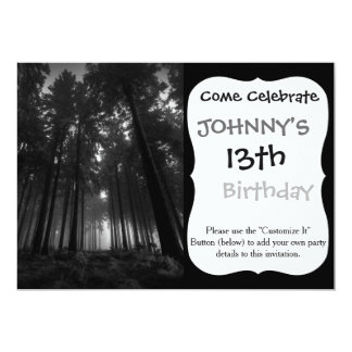 Cool Black and White Forest Fog Silence Gifts 13 Cm X 18 Cm Invitation Card