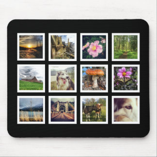 Cool Black and White Instagram Photo Collage Mouse Mat