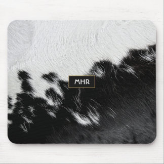 Cool Black and White Monogram Cowhide Mouse Pad