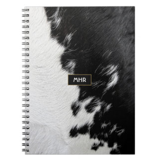 Cool Black and White Monogram Cowhide Notebooks