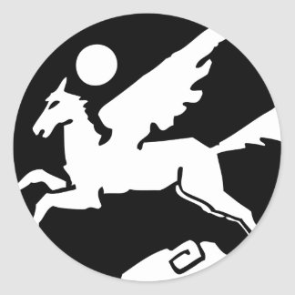 Cool black and white pegasus cartoon classic round sticker