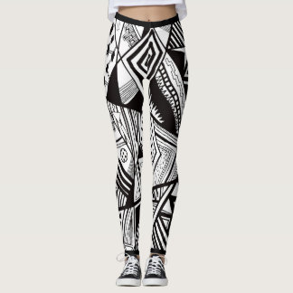 Cool Black And White Print Leggings