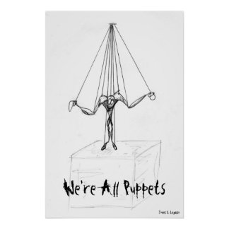 Cool  Black and White Puppet on Strings Comic Poster
