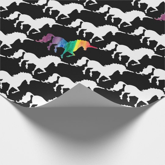Cool Black and White Rainbow Unicorn Pattern Wrapping