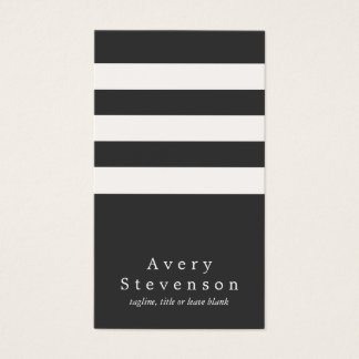 Cool Black and White Striped Modern Vertical Hip Business Card