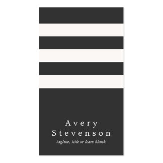 Cool Black and White Striped Modern Vertical Hip Pack Of Standard Business Cards
