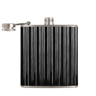 Cool Black and White Striped Pattern Hip Flask