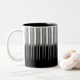 Cool Black and White Striped Pattern Two-Tone Coffee Mug