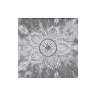 Cool Black and White Sun design marble magnet