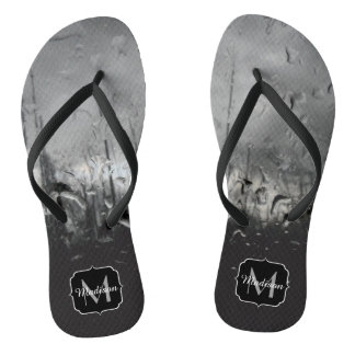 Cool black and white water drops Monogram Flip Flops