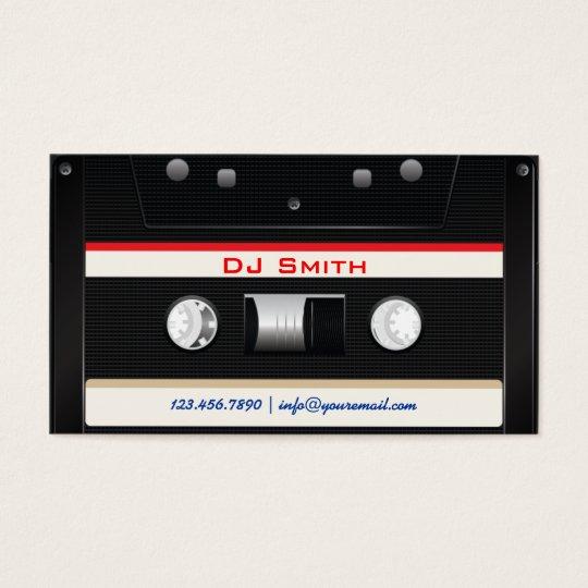 Cool Black Cassette Tape DJ Business Card