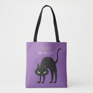 Cool Black Cat Kids Trick or Treat Tote Bag