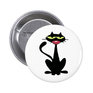Cool Black Cat with big Red Nose 6 Cm Round Badge