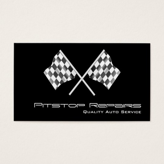 Cool Black Chequered Flag Business Card
