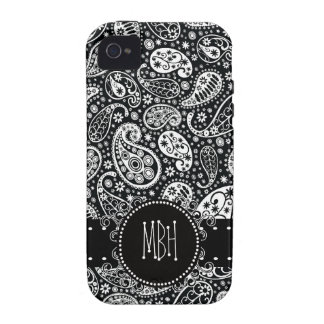 Cool Black Country Paisley with Swirly Name Tag iPhone 4/4S Cover