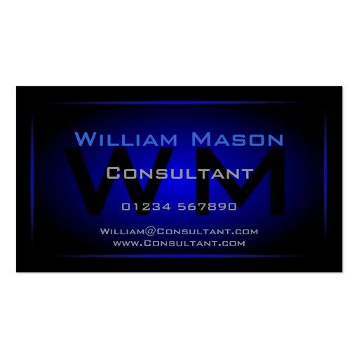 Cool Black & Dark Blue Monogram - Business Card Business Card Template