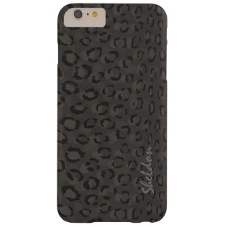 Cool black grey cheetah print monogram barely there iPhone 6 plus case