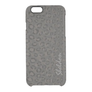 Cool black grey cheetah print monogram clear iPhone 6/6S case