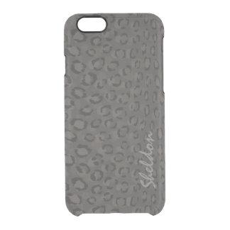 Cool black grey cheetah print monogram iPhone 6 plus case