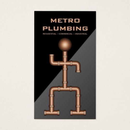 Cool Black Grey Copper Steel Pipe Plumber Plumbing Business Card