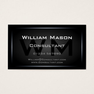 Cool Black Monogram Professional - Hi-Res Business Card