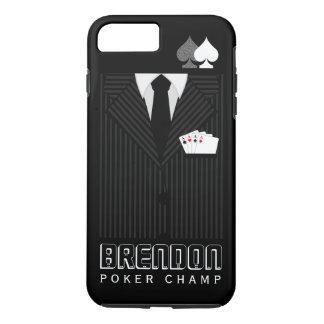 Cool Black Pinstripe Suit Poker Champ Casino iPhone 8 Plus/7 Plus Case