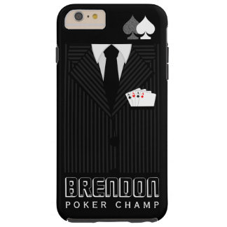 Cool Black Pinstripe Suit Poker Champ Casino Tough iPhone 6 Plus Case