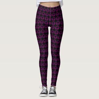 Cool Black & Purple Tribal Alien Symbol Pattern Leggings
