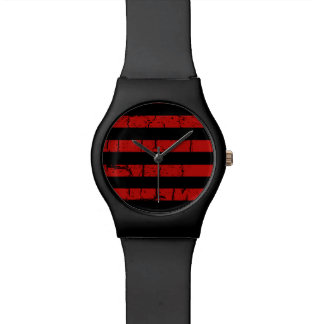 cool black red stripes stylish watch