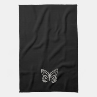 Cool Black Silver Butterfly Towel