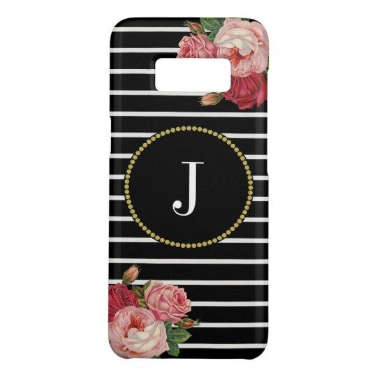 Cool Black Striped Vintage Pink Floral Monogram Case-Mate Samsung Galaxy S8 Case
